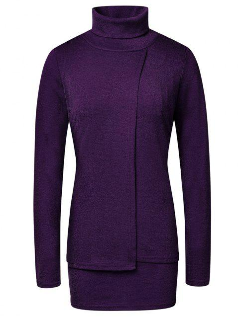 Fashion High Neck Pullover Women's Sweater - PURPLE XL