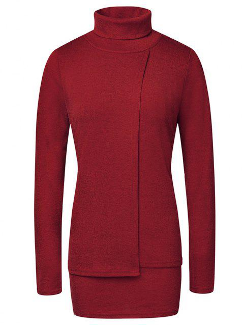 Fashion High Neck Pullover Women's Sweater - RED WINE M