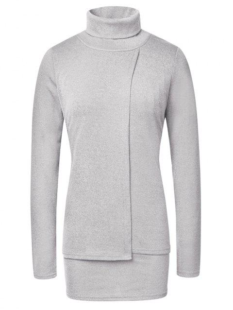Fashion High Neck Pullover Women's Sweater - GRAY M