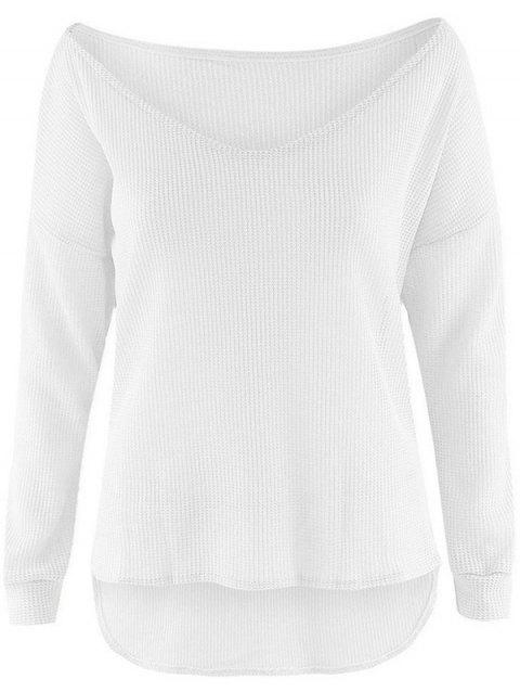 Stylish Lightweight Women's Pullover - WHITE L