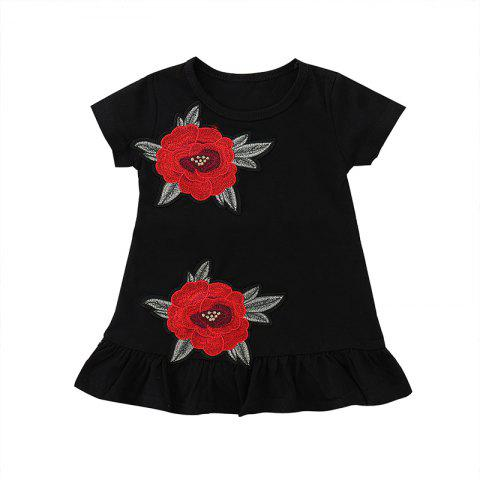 FT8058 Girls Cotton Rose Embroidered Pleated Sweet Dress - GRAPHITE BLACK 90
