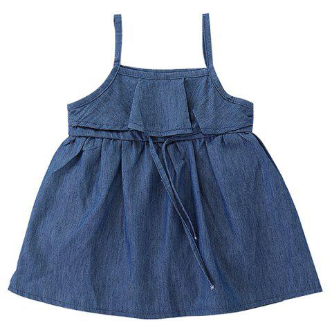 FT1500 Summer Simple Denim Lace Up Girl  's Dress - Bleu Foncé Toile de Jean 4 - 5T