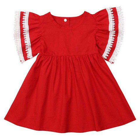 FT28718 Baby Girl Sweet Lace Bow Sister Dress - RED SISTER 3 - 4 YEARS