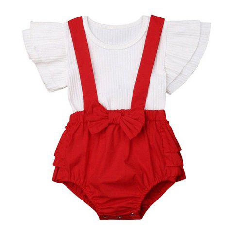 FT28718 Baby Girl Sweet Lace Bow Sister Dress - RUBY RED YOUNG SISTER 18 - 24 MONTHS