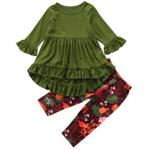 FT1208 Top + Floral Print Pants Girl's Clothing Set - FERN GREEN 130