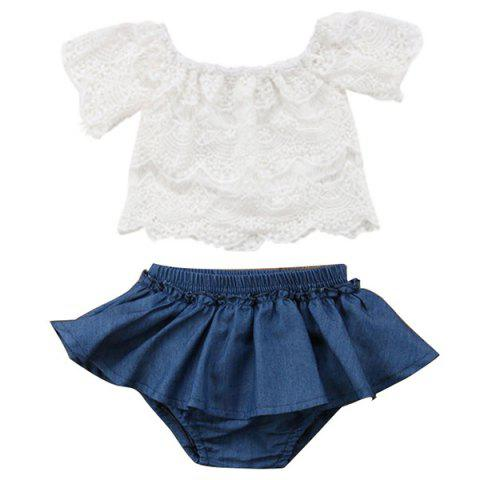 FT1562 Two-piece Girl's Clothing Set - WHITE 100