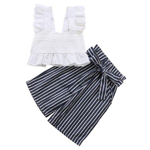 FT1625 Two-piece Girl's Clothing Set - WHITE 90