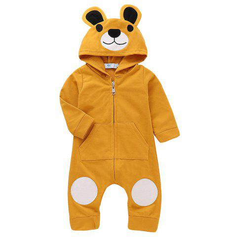 TZY20569 Children's Cute Bear Embroidery Romper - GOLDEN BROWN 5 - 6T