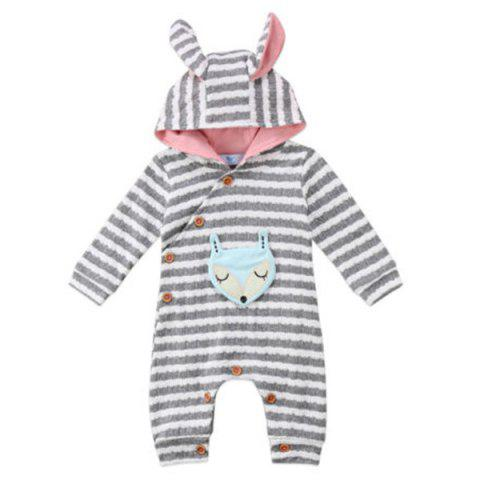 TZY20996 Baby Girl Boutique Striped Fox Embroidery Romper - SMOKEY GRAY 100