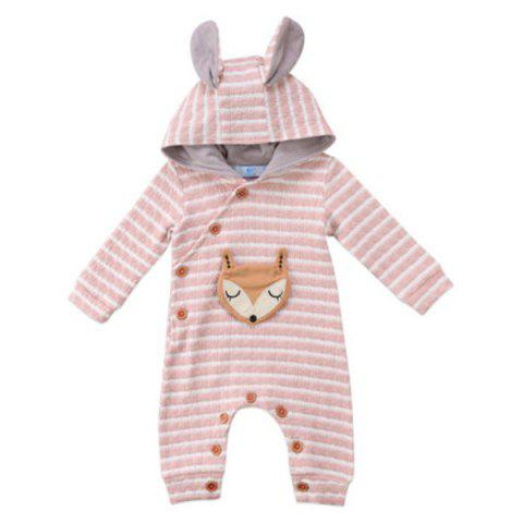 TZY20996 Baby Girl Boutique Striped Fox Embroidery Romper - LIGHT PINK 90