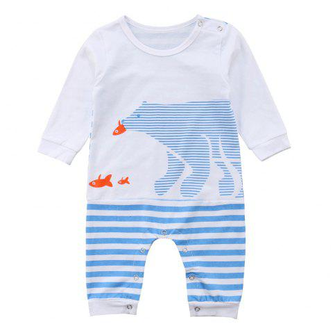 FT1631 Baby Cotton Striped Cute Bear Print Romper - CRYSTAL BLUE 90