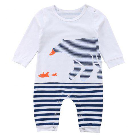 FT1631 Baby Cotton Striped Cute Bear Print Romper - LAPIS BLUE 60