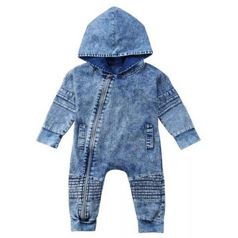 FT1576 Baby Denim One-piece Rompers - BLUE GRAY 100