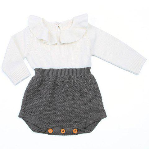 Girl Cute Ruffled Knit Triangle Dress - CARBON GRAY 90