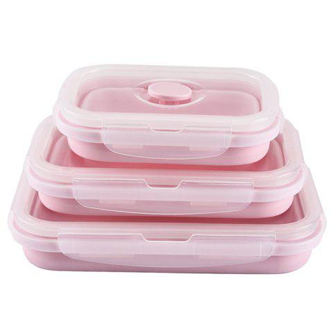 Silicone Pliable Rétractable Silicone Lunch Box 3pcs - Rose