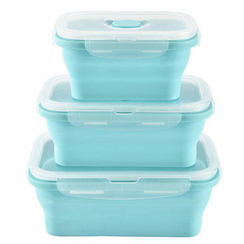 Retractable Silicone Folding Silicone Lunch Box 3pcs - BABY BLUE