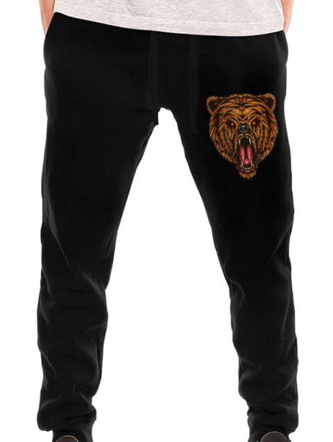 11022 Comfortable Fashion Men's Plus Back Pocket Long Sweatpants - BLACK M