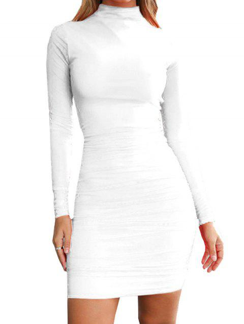 FC429 Turtleneck Skinny Sexy Solid Color Women's Dress - WHITE S