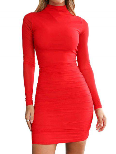 FC429 Turtleneck Skinny Sexy Solid Color Women's Dress - LAVA RED M