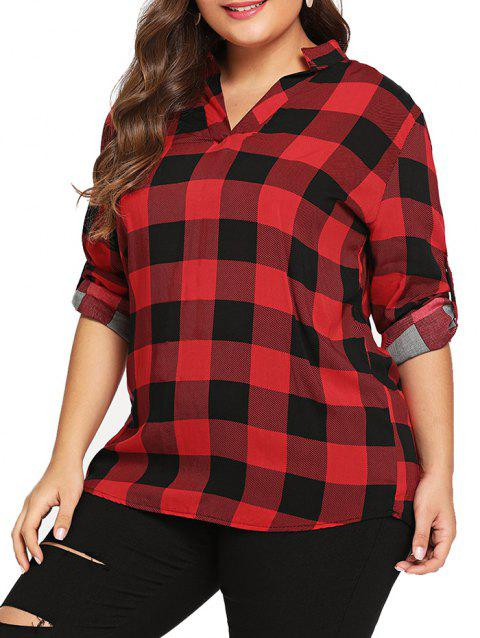 Chemise manches longues cardigan grande taille - Rouge 2XL
