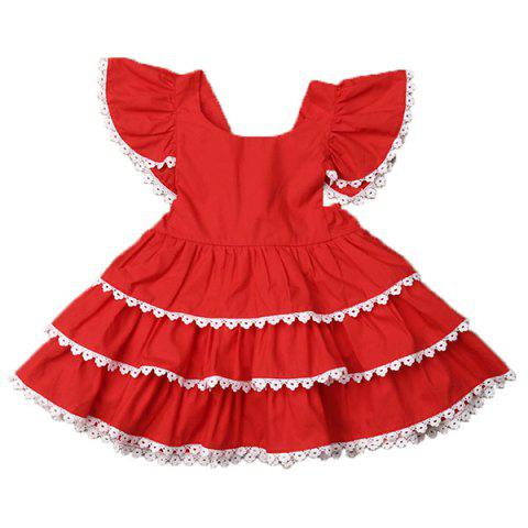 FT1719 Sweet Lace Small Flying Sleeve Girl's Dress - RED 100