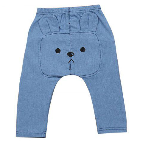 FT1677 Bear Cartoon Print Baby's Pants - BLUE GRAY 0 - 6M