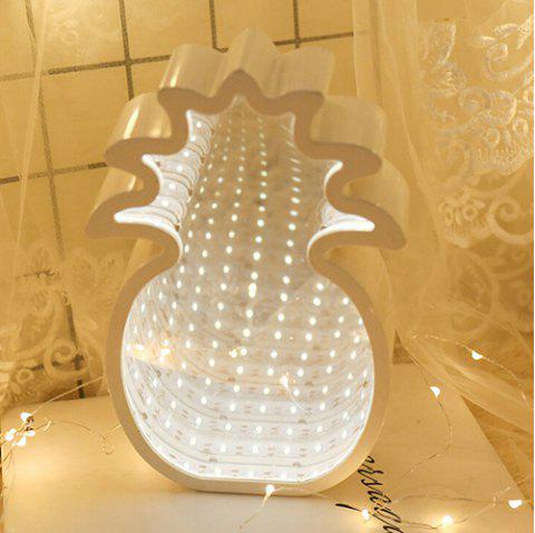 LED Tunnel Modeling Mirror Five-pointed Star Decoration Night Light - WHITE PINEAPPLE