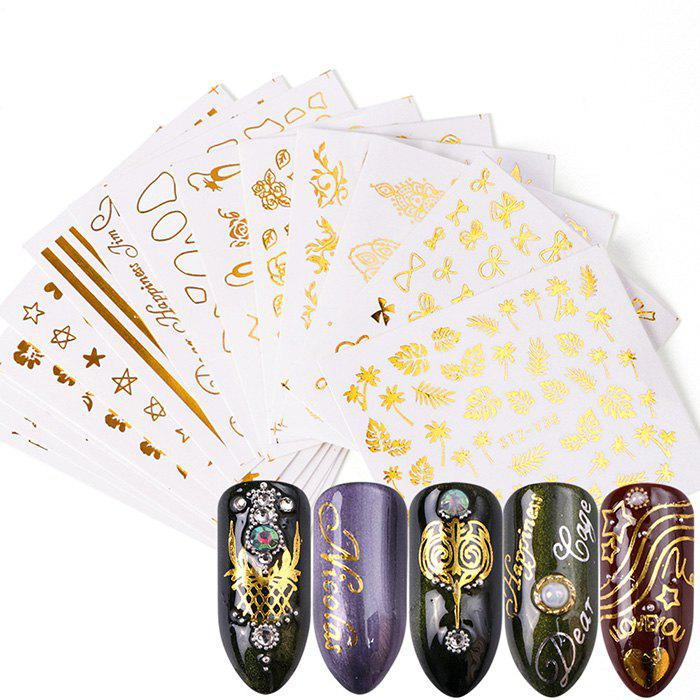 Golden Gilding Watermark Nail Sticker 16pcs - GOLD