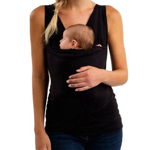 Kangaroo Dad and Mummy Multi-Functional Maternity Clothes Casual Sleeveless Vest Short Sleeve T-Shirt - BLACK L