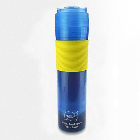 French Press Travel Mug Portable Coffee Maker Drink Water Thermos Cup - DODGER BLUE