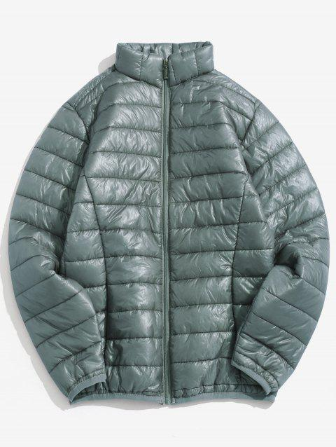 Zip Up Solid Warm Lightweight Padded Jacket - GRAY CLOUD L