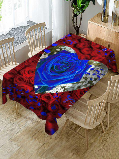 Valentines Day Rose Heart Print Fabric Waterproof Tablecloth - multicolor W60 X L84 INCH