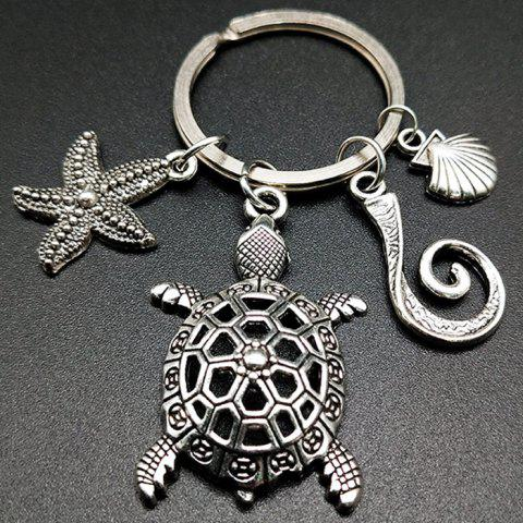 Turtle Shell Alloy Marine Style Keychain - SILVER