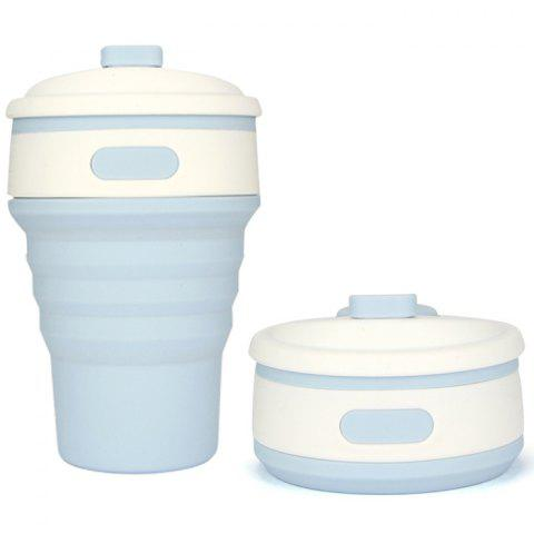 Folded Silicone Coffee Water Cup - BLUE GRAY