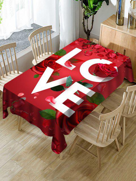 Valentines Day LOVE Rose Print Fabric Waterproof Tablecloth - multicolor W54 X L72 INCH