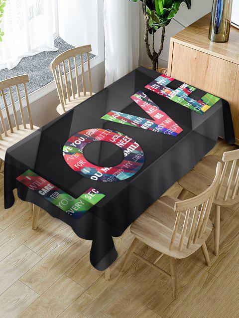 Valentines Day LOVE Print Fabric Waterproof Tablecloth - multicolor W60 X L84 INCH