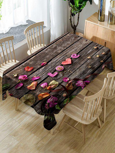 Valentines Day Wood Grain Print Fabric Waterproof Tablecloth - multicolor W60 X L84 INCH