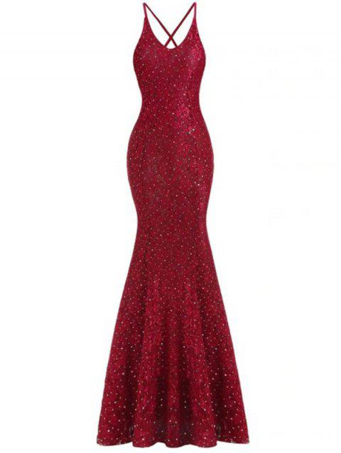 Women Fashionable V-neck Backless Lace Sexy Dress - RED WINE S