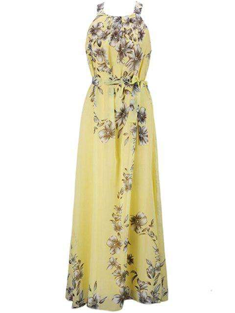 Bohemian Printed Beach Maxi Sleeveless Round Neck Halter Chiffon Dress - YELLOW S