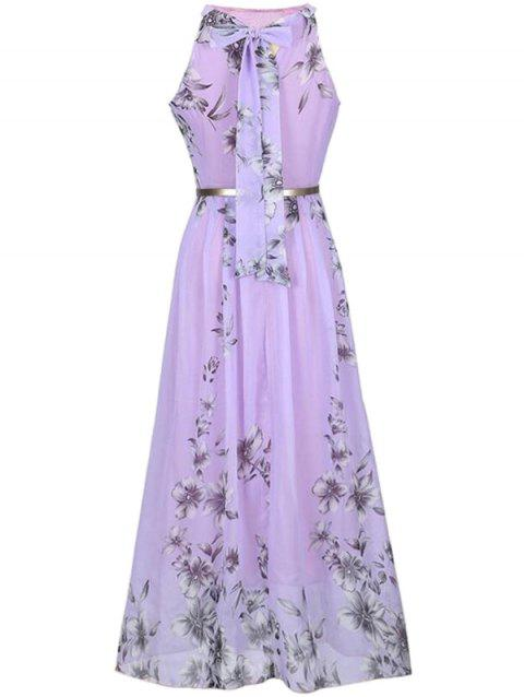 Bohemian Printed Beach Maxi Sleeveless Round Neck Halter Chiffon Dress - PURPLE S