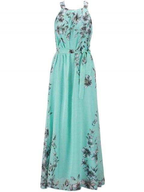 Bohemian Printed Beach Maxi Sleeveless Round Neck Halter Chiffon Dress - GREEN L