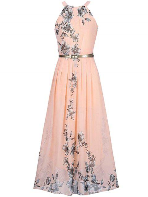 Bohemian Printed Beach Maxi Sleeveless Round Neck Halter Chiffon Dress - PINK M