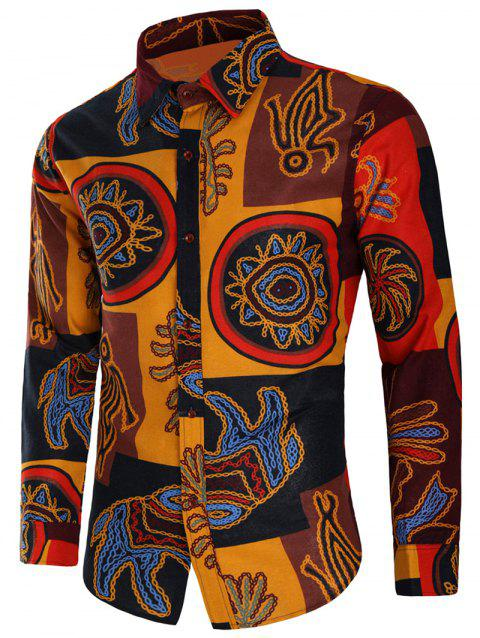 Button Up Tribal Print Long Sleeves Shirt - multicolor L