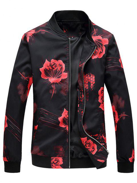 Rose Flower Print Zip Up Jacket - BLACK M