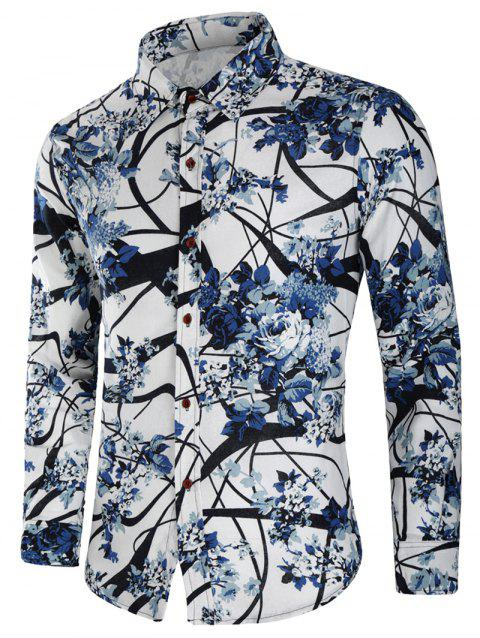 Chinese Painting Flowers Print Casual Shirt - multicolor M