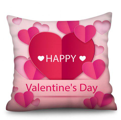 Valentine Day Series Polyester Faux Linen Digital Printing Hug Pillowcase - HOT PINK W18 X L18 INCH