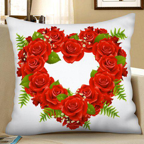 Polyester Faux Linen Digital Printing Pillowcase - RED