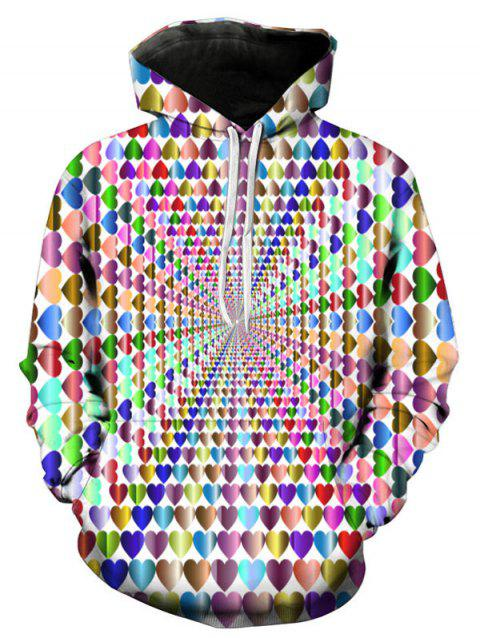 Colorful 3D Hearts Print Pullover Hoodie - multicolor A L