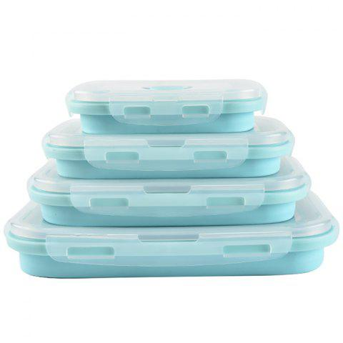 Silicone Retractable Folding Lunch Box 4pcs - SKY BLUE