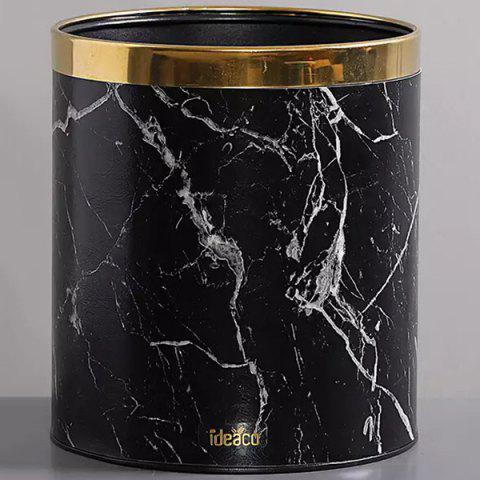 Nordic Luxury Marble Round Home Creative Living Kitchen Bathroom Trash Can - BLACK